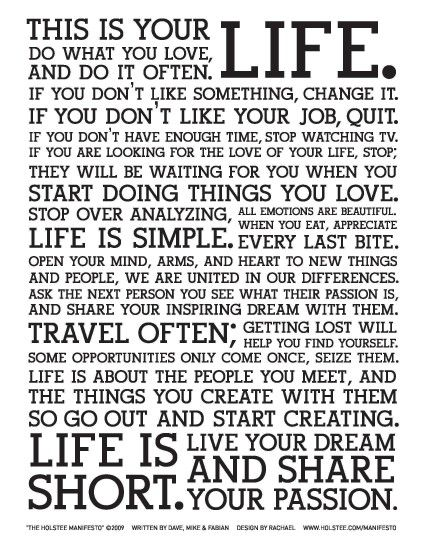 The Holstee Manifesto This Is Your Life Pictures to pin on Pinterest