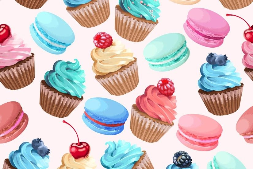Background, illustration, pattern, cute, art, food, sweet, cupcakes