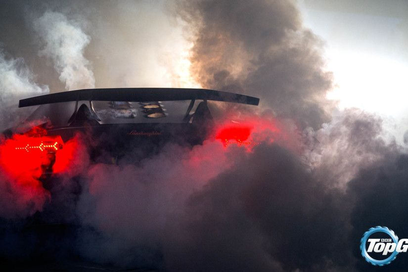 Top Gear - Amazing Lamborghini Aventador Burnout Rear View 1920x1080  wallpaper