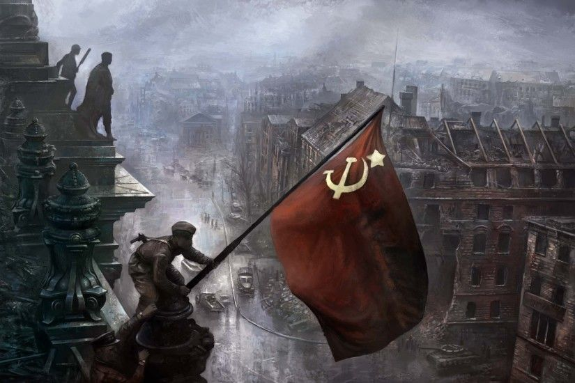 soldiers, flags, World War II, artwork, Soviet Russian flag - Free Wallpaper  / WallpaperJam.com