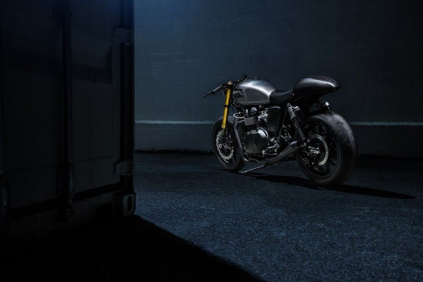 triumph the bullitt bike bonneville racer custom motorcycle rear