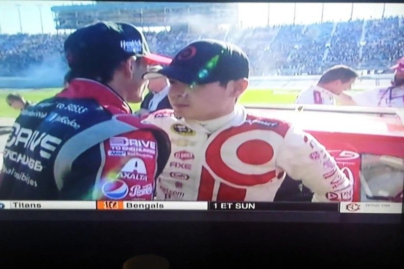 24 Jeff Gordon & 42 Kyle Larson battling for 2nd position @ Chicagoland  Speedway - YouTube