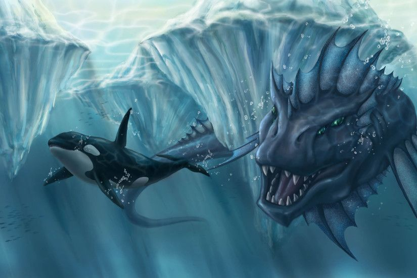 Ocean, Icebergs, Hunting, Monster, Fall, Ice, Orca