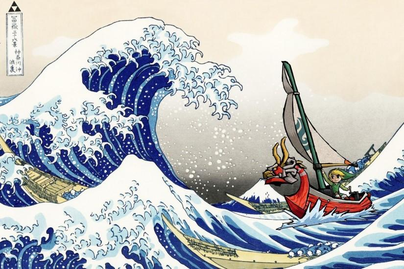 Made this little wallpaper: Hokusai + Wind Waker ...