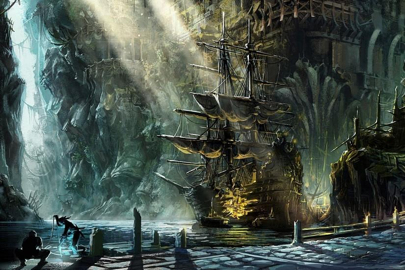 pirate ship paintings | fantasy ship pirate magic cities harbor bay  sunlight beam ray art .