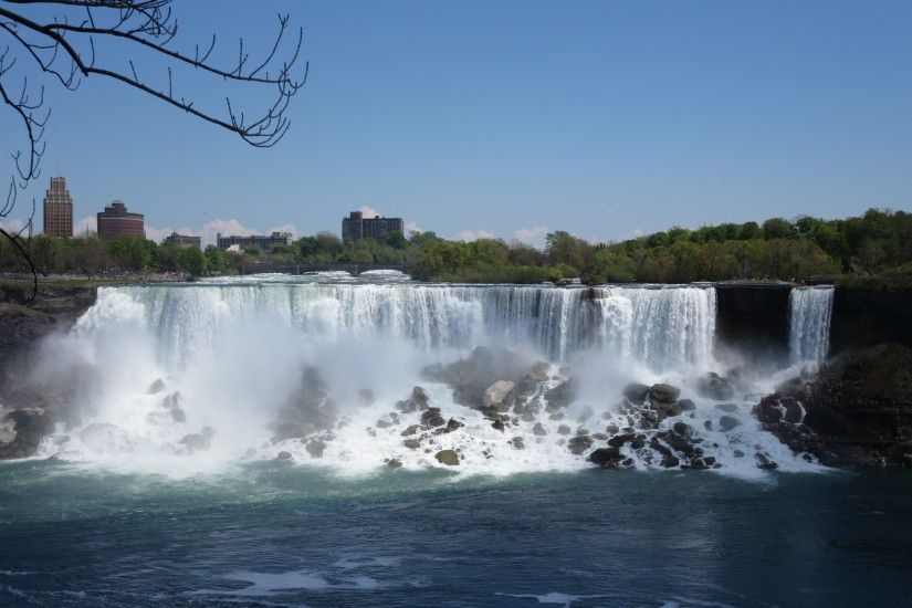 Niagara Falls, with the city in the background.