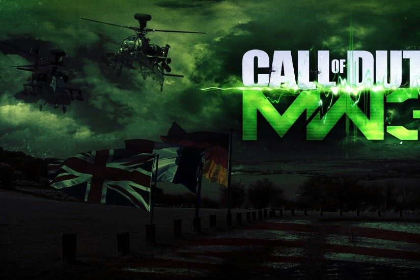 Preview wallpaper call of duty modern warfare 3, flags, helicopter, sky,  clouds