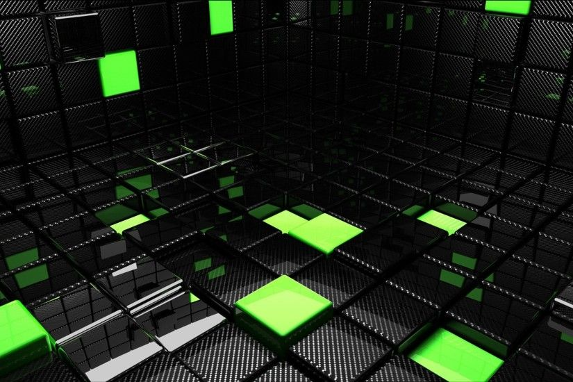 Preview wallpaper cube, square, green, black, space 1920x1200