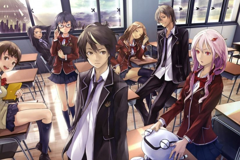 1920x1080 Wallpaper anime, guilty crown, students, class, rest
