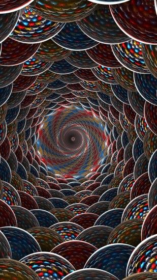 Abstract 3D Blue Red Colors Colorful Circle Sphere Swirl Mobile Wallpaper