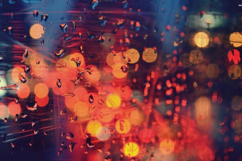 City Lights Behind Rainy Window 704386 ...