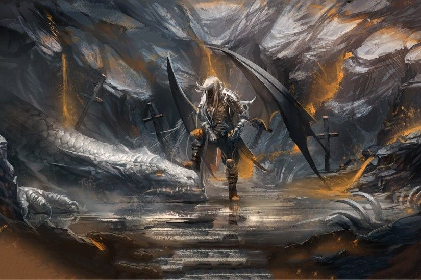 Artwork Dark Elves Dragons Drow Fantasy Art Wings ...