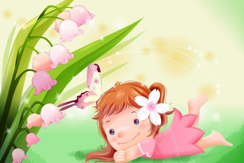 Cute Little Girl with Butterfly Cartoon Wallpaper