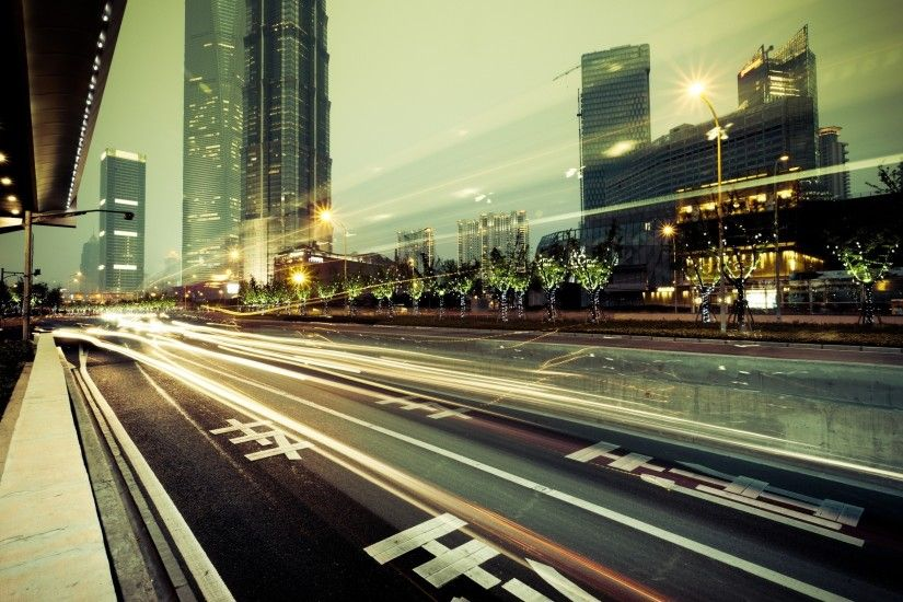 The Abstract Background Of The Road And City . Stock Photo .