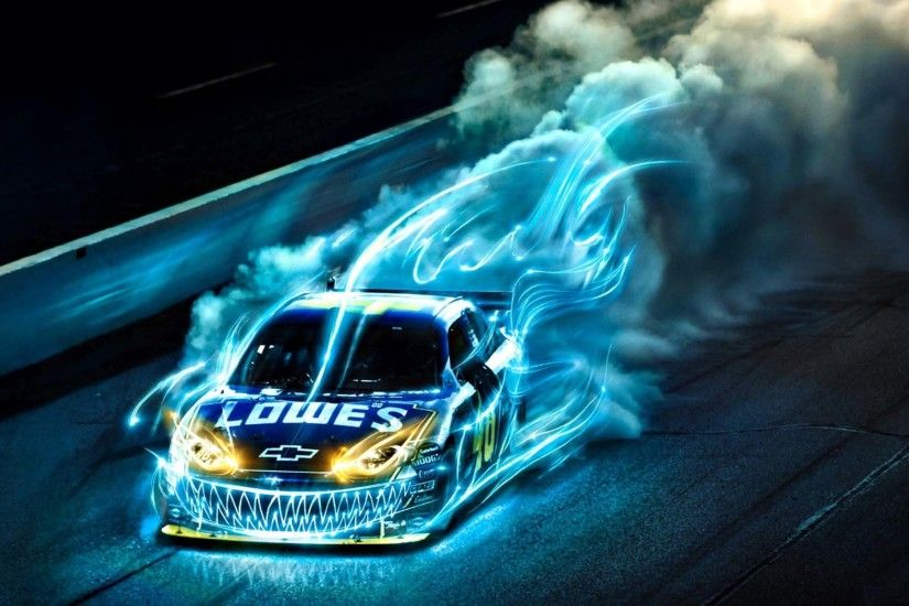 Blue Cool Fire Effect Drift Racing Car Hd Wallpaper