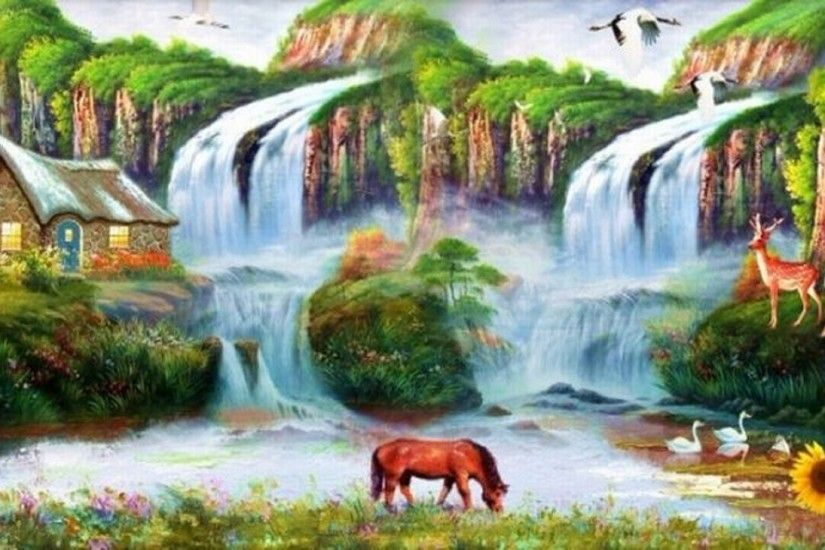 ... Beautiful Nature Wallpaper For Desktop 3d Waterfalls 7 Backgrounds  Beautiful Waterfall Photo Hd With Nature Wallpaper ...