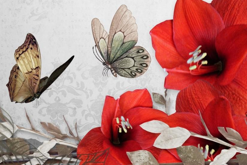 Red Flower and butterfly Vintage Wallpapers HD.