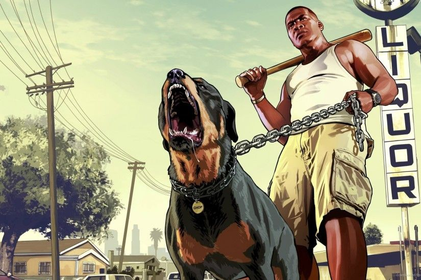 GTA 5 Franklin with a rottweiler picture