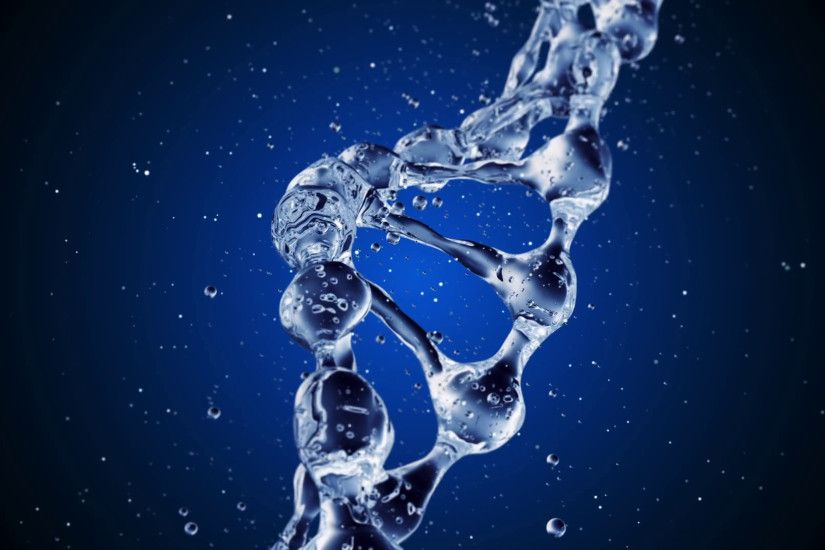 DNA molecule in water 3d illustration over blue background. HD