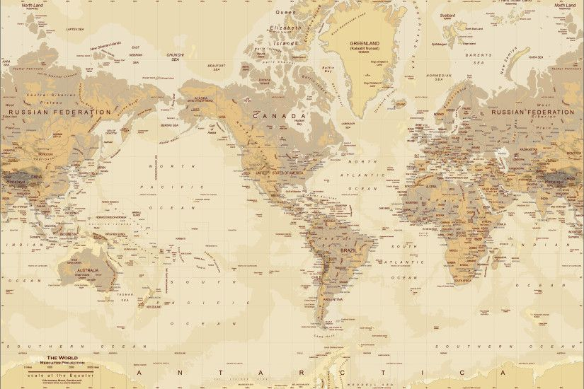 Tan World Map Wall Mural