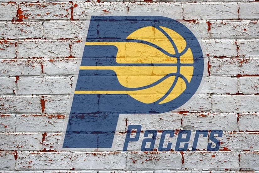 nba indiana pacers logo on brick wall