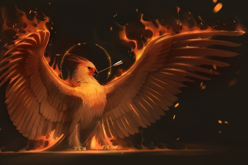 Wallpapers Birds Phoenix mythology Wings Fantasy Fire Magical animals  2560x1440 Flame