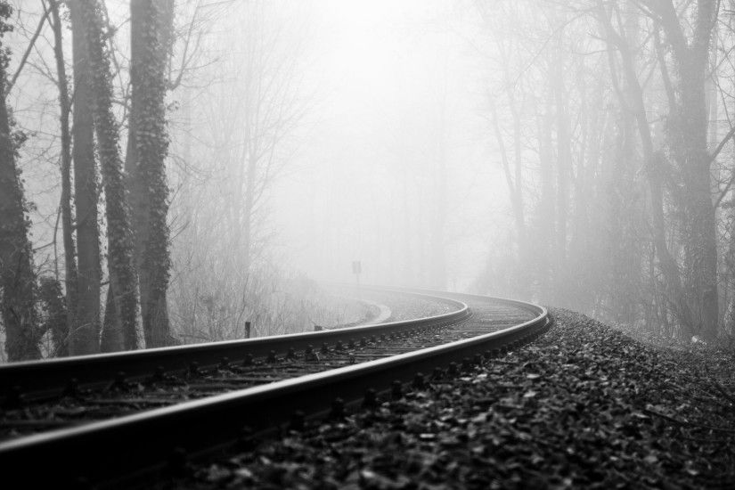 Photography - Black & White Railroad Fog Wallpaper
