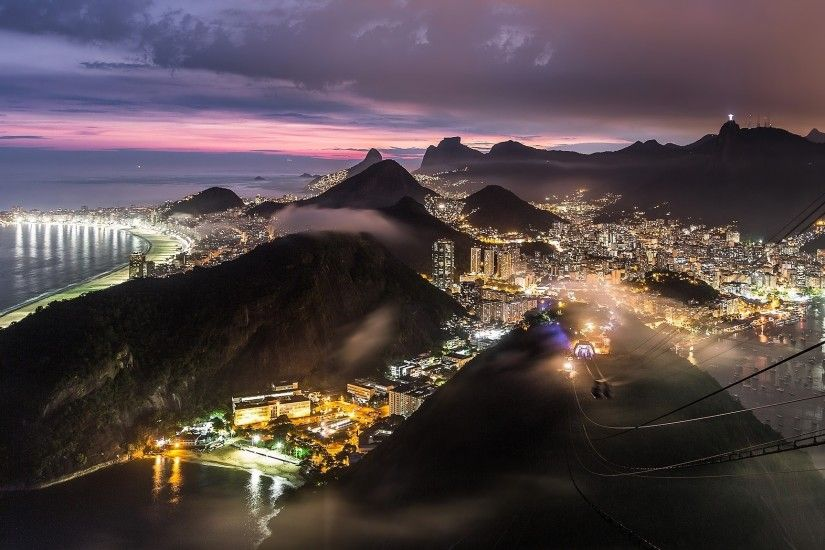 Mountains, City at Night, Brazil, sea, Rio de Janeiro