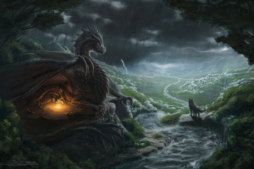 fantasy Art, Dragon, Wolf, River Wallpapers HD / Desktop and Mobile  Backgrounds