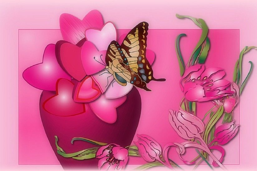 Animals Pretty Butterfly Pink Colors Designs Pre Flowers Vase Art Nature  Vector Colorful Creative Digital Plants Meeting Lovely Hearts Bright  Beautiful ...