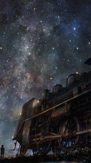 2160x3840 Wallpaper iy tujiki, art, night, train, anime, starry sky