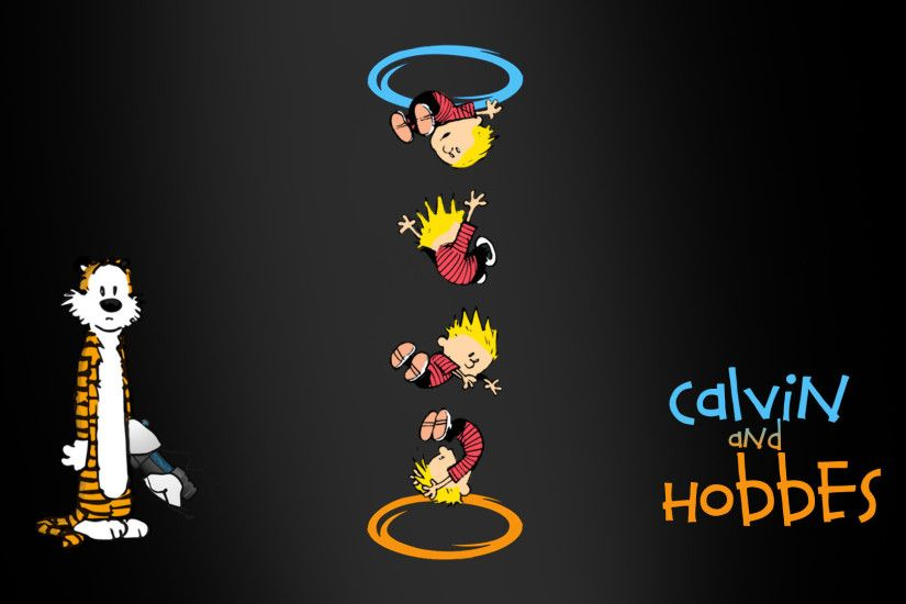 Calvin and Hobbes Portal crossover wallpaper 1920x1080 jpg