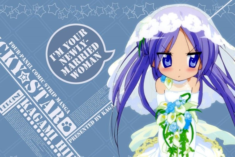 1920x1080 Wallpaper lucky star, hiiragi kagami, girl, bride, bouquet, veil