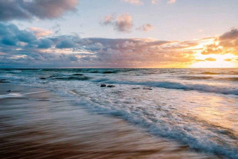 Beaches Waves Beach Sunset Ocean Surf Clouds Sea Background Images HD Nature