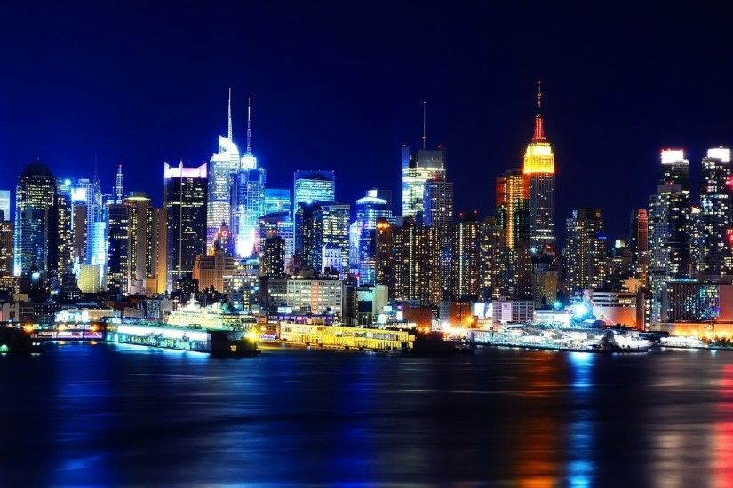 Preview wallpaper new york, night, lights, river, reflection 2560x1600