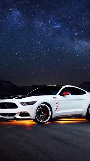 Preview wallpaper ford, mustang, white, side view, night 1440x2560