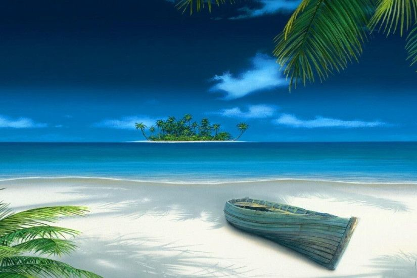 3D Beach Ocean Island Desktop Wallpaper Nature