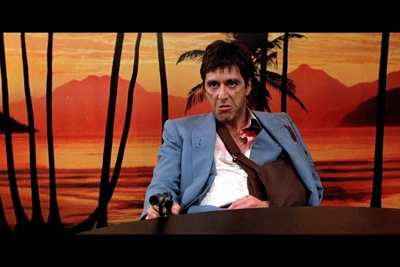 SCARFACE crime drama movie film weapon gun dark blood wallpaper .