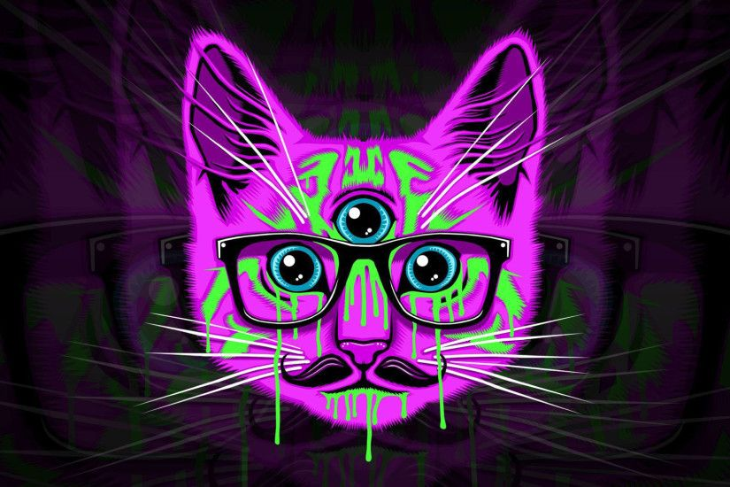 psychedelic cat hipster glasses mustache wallapers desktop wallpapers high  definition monitor download free amazing background photos artwork  1920×1080 ...