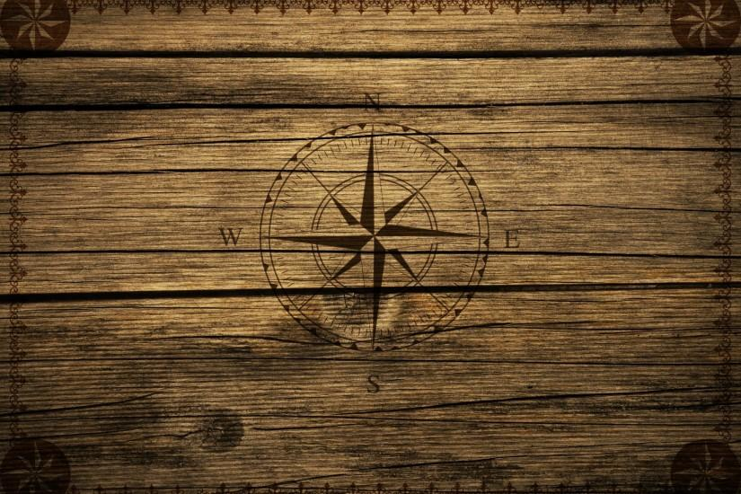 Compass Vintage Wood Background