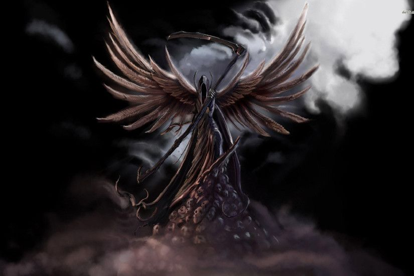 Download · Wings Fantasy Hd Wallpaper with Grim Reaper