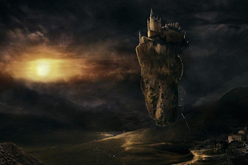fantasy castle valley floating island wallpapers - full HD backgrounds