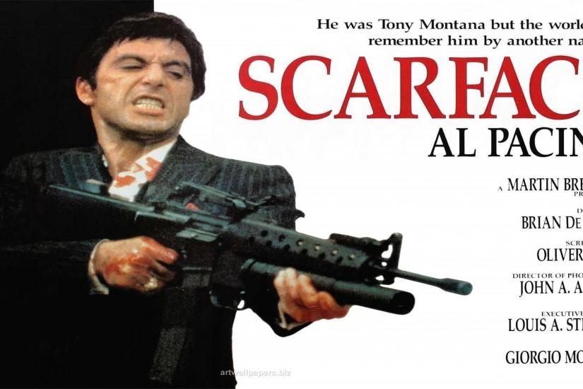 SCARFACE crime drama movie film poster weapon gun dark wallpaper |  1920x1080 | 333963 | WallpaperUP