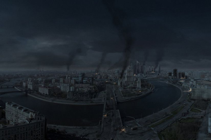 City Moscow Russia War Night Apocalyptic Battle Dark Wallpaper At Dark  Wallpapers