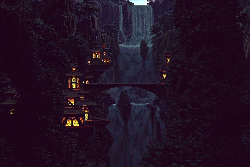 General 1920x1080 digital art pixel art pixels 8-bit nature waterfall trees  forest Chinese architecture