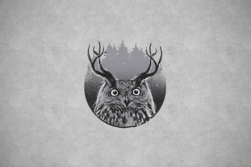Owl with horns, gray background