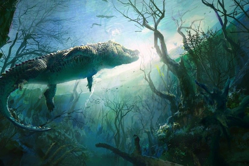 nature, Animals, Digital Art, Underwater, Crocodiles, Plants, Branch,  Painting, UFO Wallpapers HD / Desktop and Mobile Backgrounds