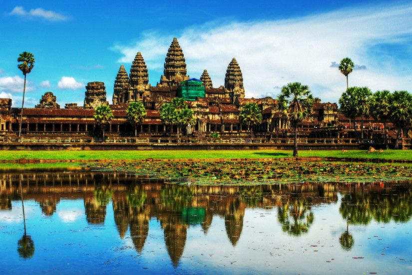 Download now full hd wallpaper angkor wat lake hidden temple india ...