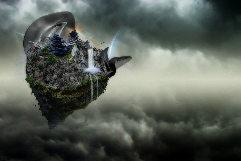 fantasy Art, Artwork, Digital Art, Floating Island, Clouds, Nature, Chinese  Architecture, Rock, Roots, Trees, Waterfall, Rainbows, Birds Wallpapers HD  ...