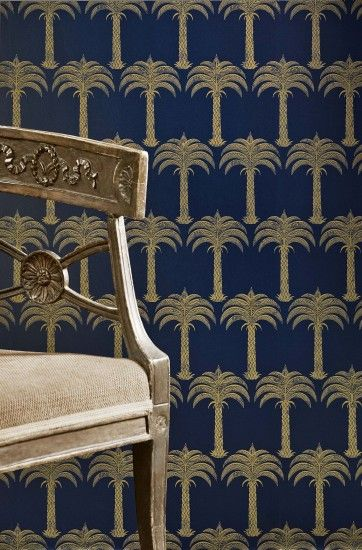 Barneby Gates Marrakech Palm Midnight Blue Wallpaper extra image